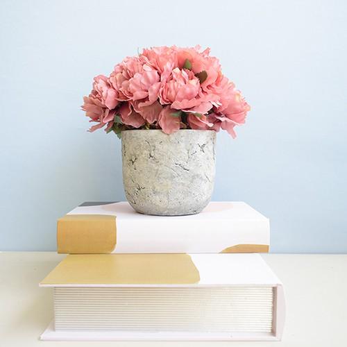 Arranjo de Peônias Artificial Rosas no Vaso de Cimento  |Linha permanente Formosinha