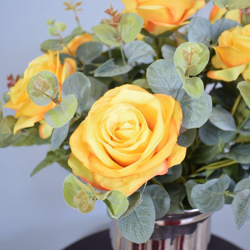 Flores artificiais Arranjo de Flores Rosas Amarelas no Vaso Prateado|Linha permanente Formosinha
