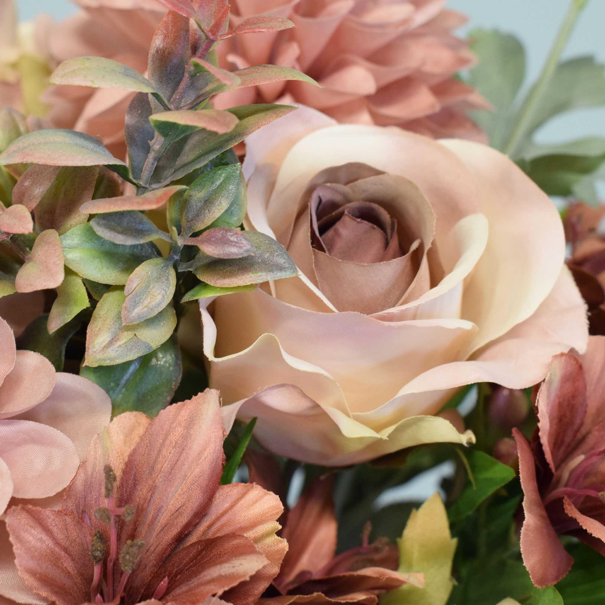 Flores artificiais Arranjo de Flores Rosas e Astromélias no Vaso Rose Gold|Linha permanente Formosinha