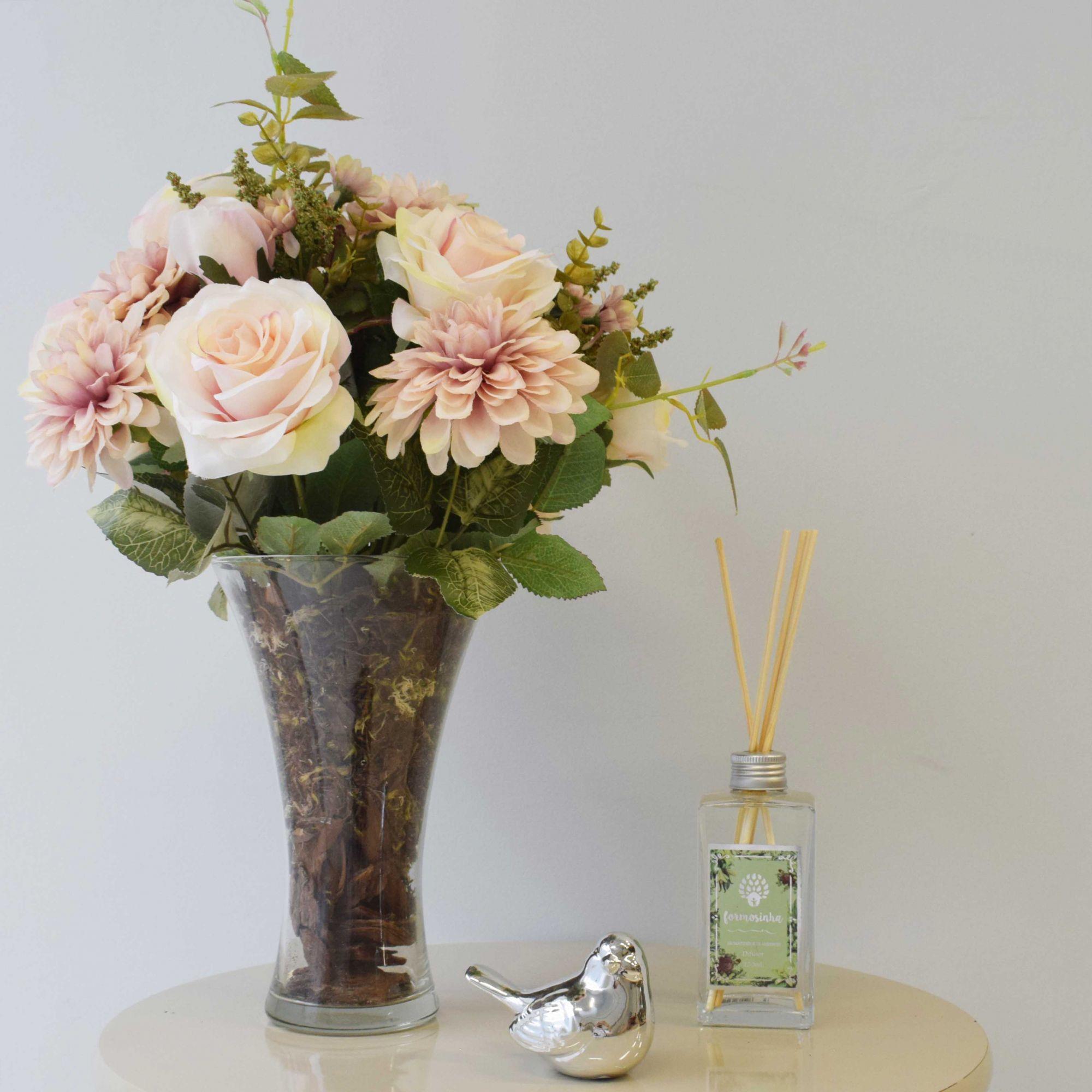 Flores artificiais Arranjo de Rosas e Dálias no Vaso de Vidro|Linha permanente Formosinha