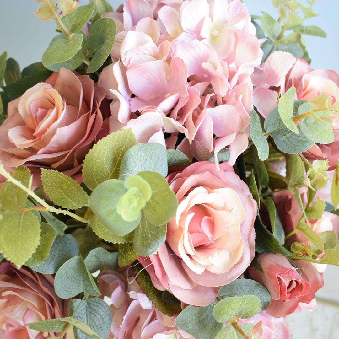 Arranjo de Rosas e Hortênsias Pink Artificial no Vaso de Vidro |Linha permanente Formosinha