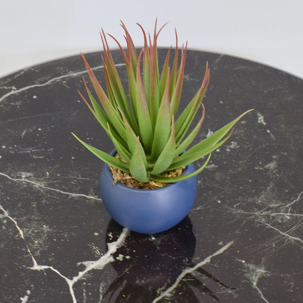 Arranjo de Suculenta Artificial no Vaso Cerâmica Azul