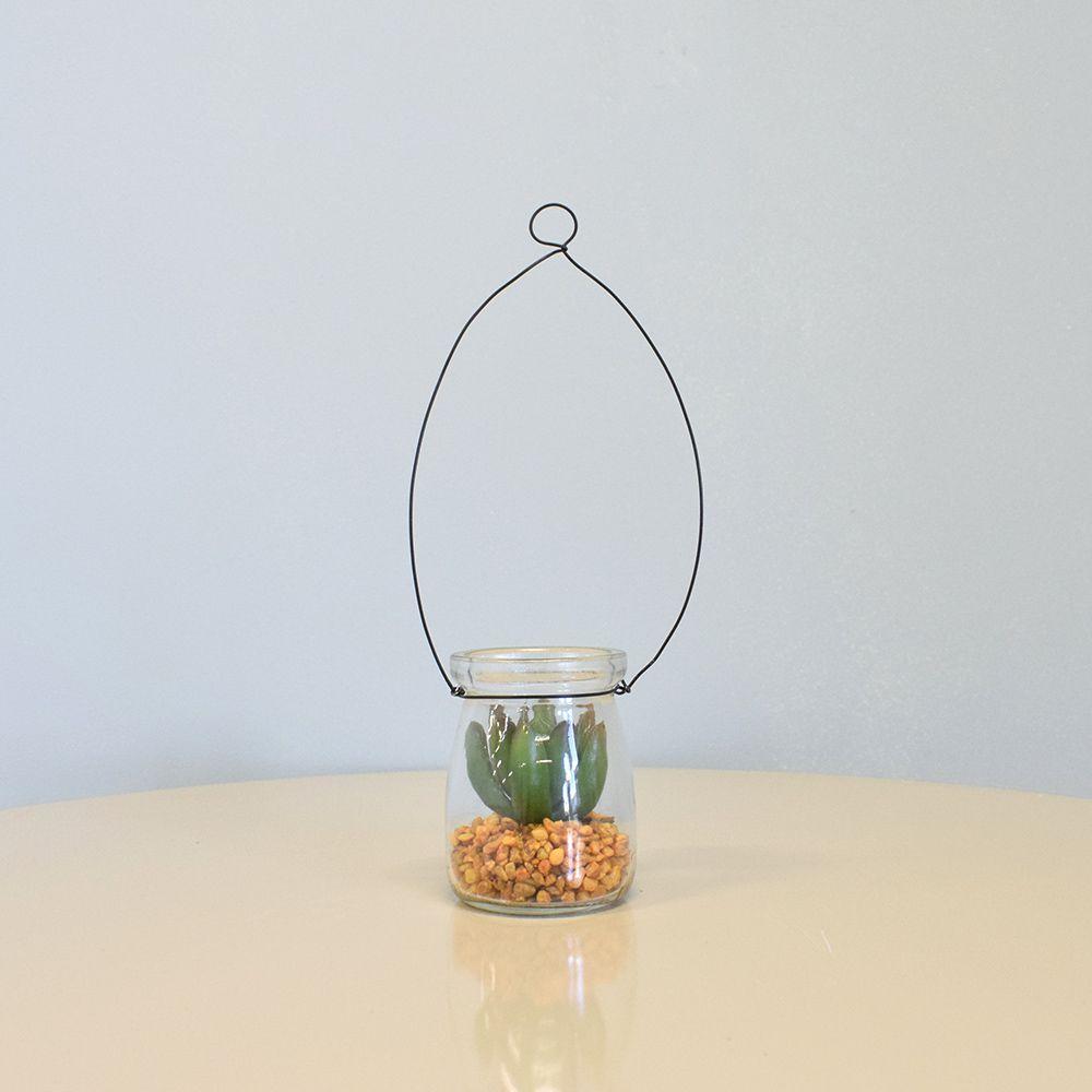 Flores artificiais Arranjo de Flores Suculenta Artificial no Vaso de Vidro|Linha permanente Formosinha