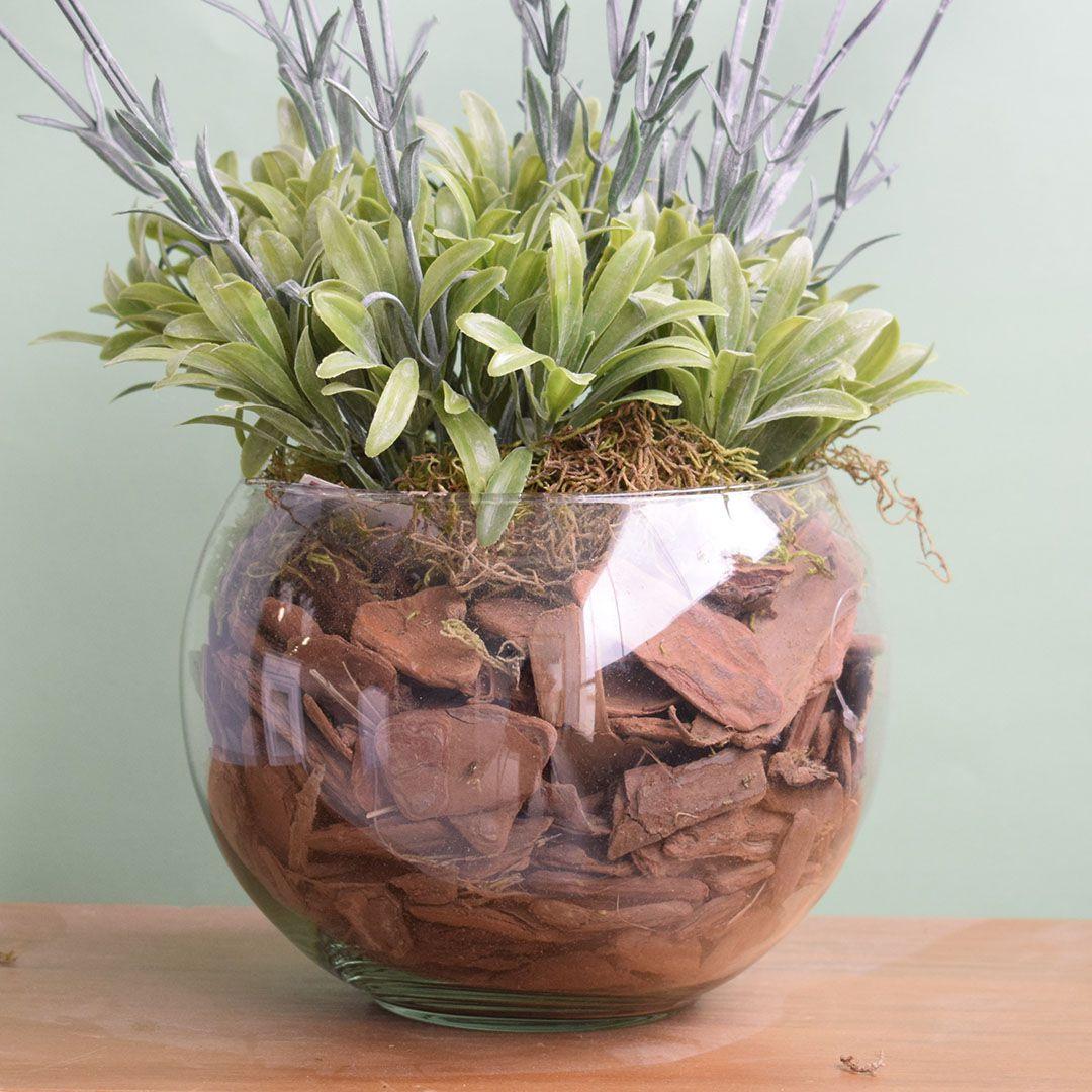 Arranjo Floral Artificial - Arranjo de Lavandas no Vaso de Vidro | Linha Permanente Formosinha