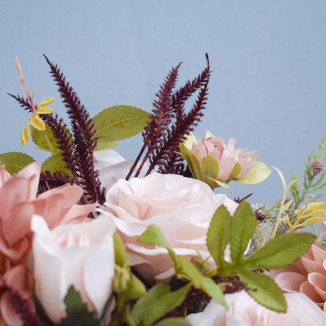 Arranjo Flor Artificial Rosas e Dálias no Vaso de Vidro | Formosinha