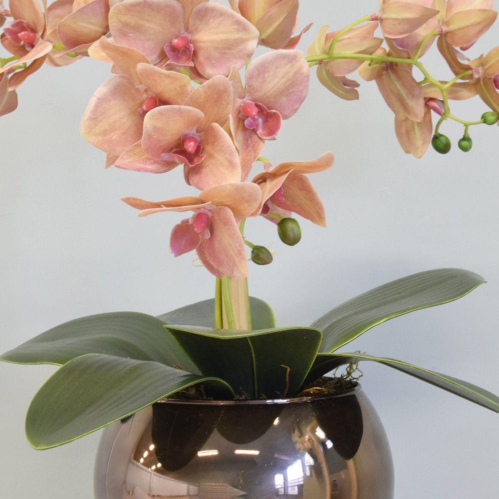 Arranjo Flores Artificiais Orquídeas Salmão no Vaso Rose Gold