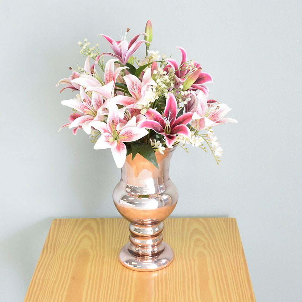 Flores artificiais Arranjo de Lírio Rosa no Vaso Rose Gold|Linha permanente Formosinha