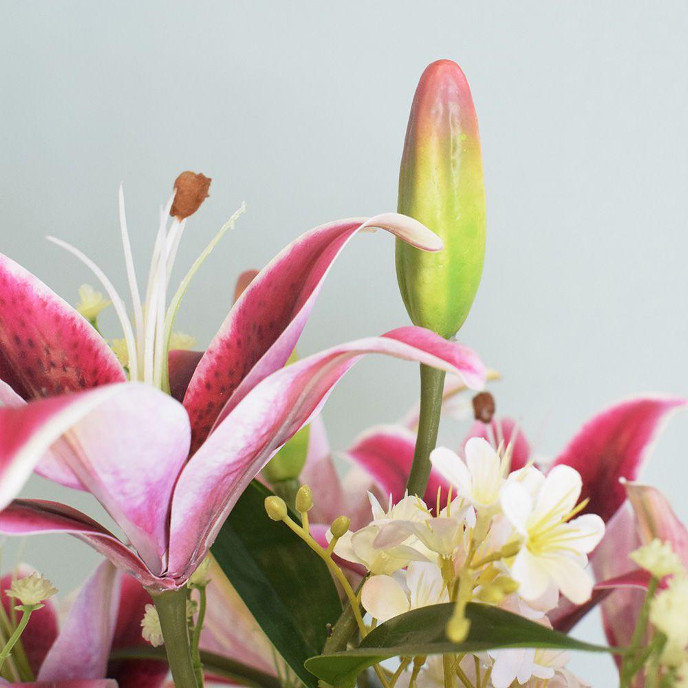 Arranjo de Flores Artificiais |Lírios Rosa no Vaso Rose Gold