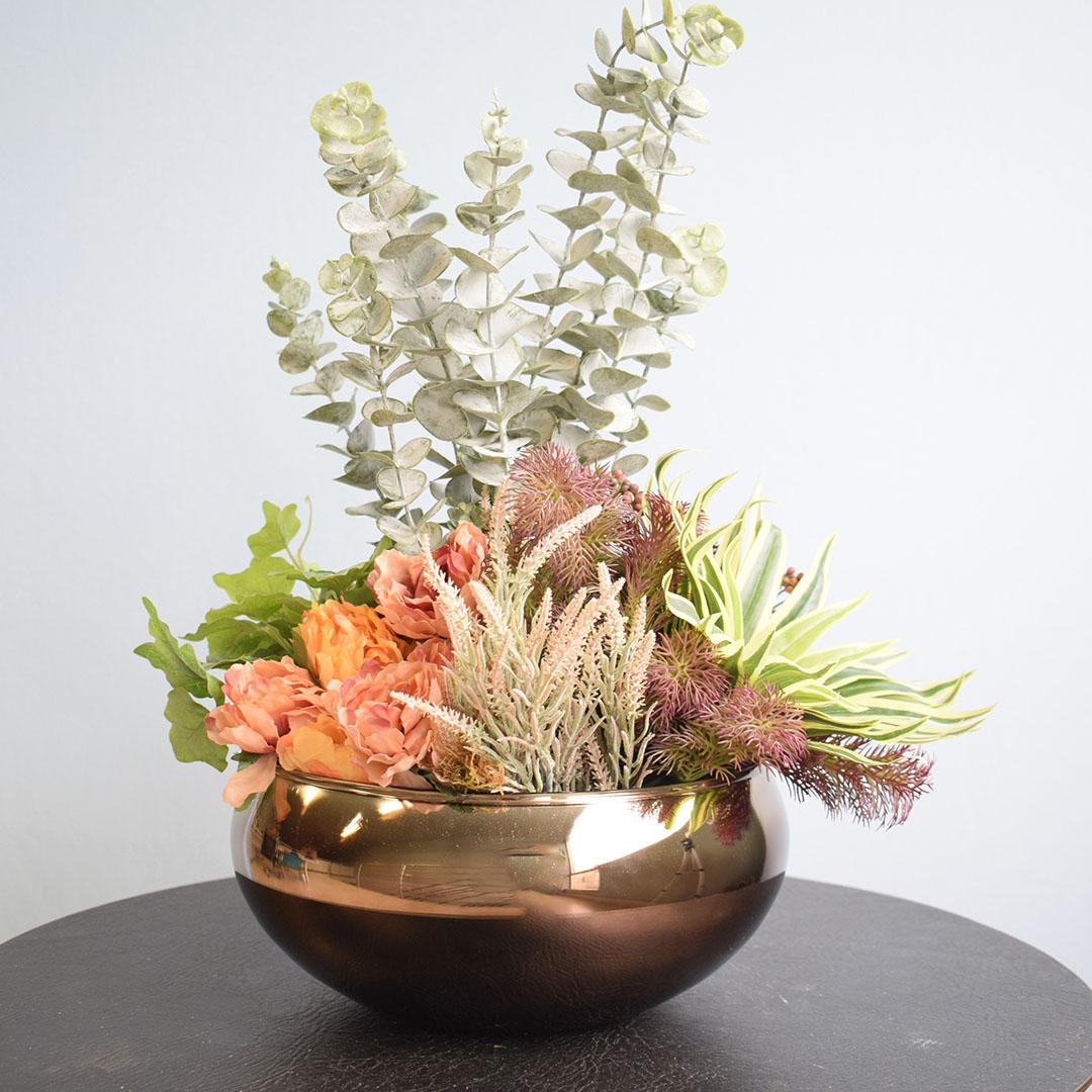 Arranjo Moderno Artificial de Flores, Suculentas e Folhagens para Mesa de Jantar