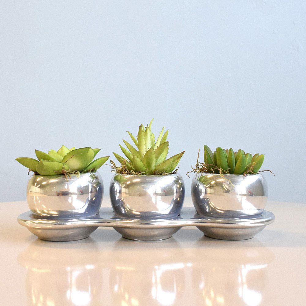 Flores artificiais Arranjo Trio de Flores Suculentas no Vaso Prateado|Linha permanente Formosinha