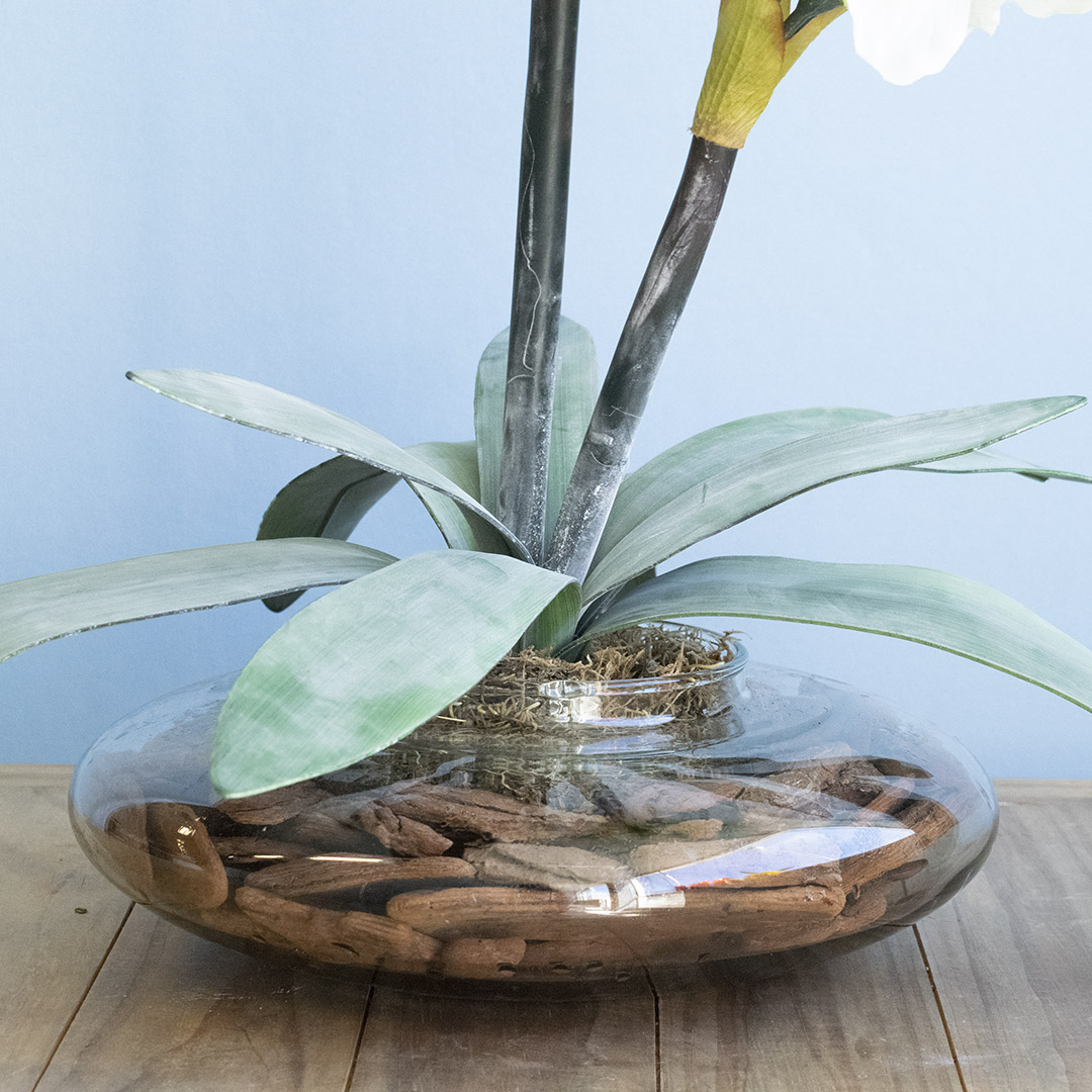 Arranjo de Amarílis Flor Artificial Branca no Vaso de Vidro |Formosinha