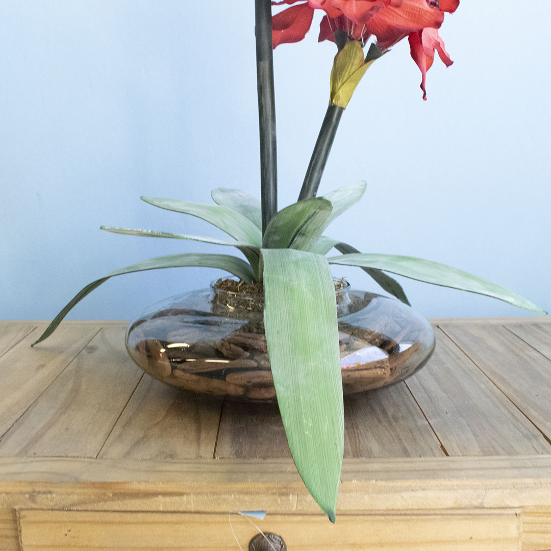 Arranjo de Flor Artificial Vermelha Amarílis no Vaso de Vidro | Formosinha