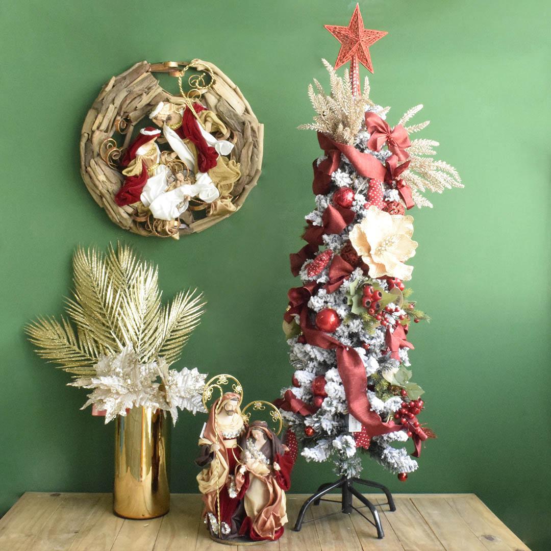 Árvore Natalina Decorada Nevada com 120cm | Linha Natal Encantado