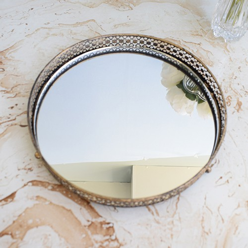 Bandeja Dourada com Espelho