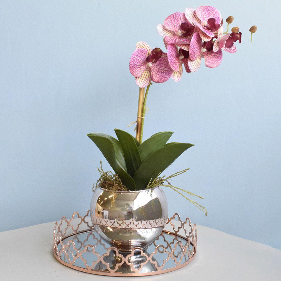 Bandeja Flores Rose Gold Luxo