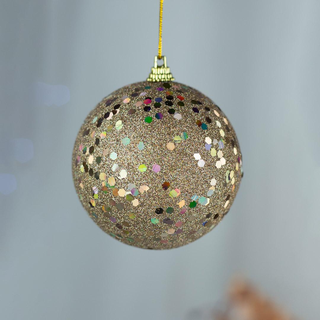 Bola Natalina Champagne com Brilho 10cm - Caixa com 3 | Natal Formosinha