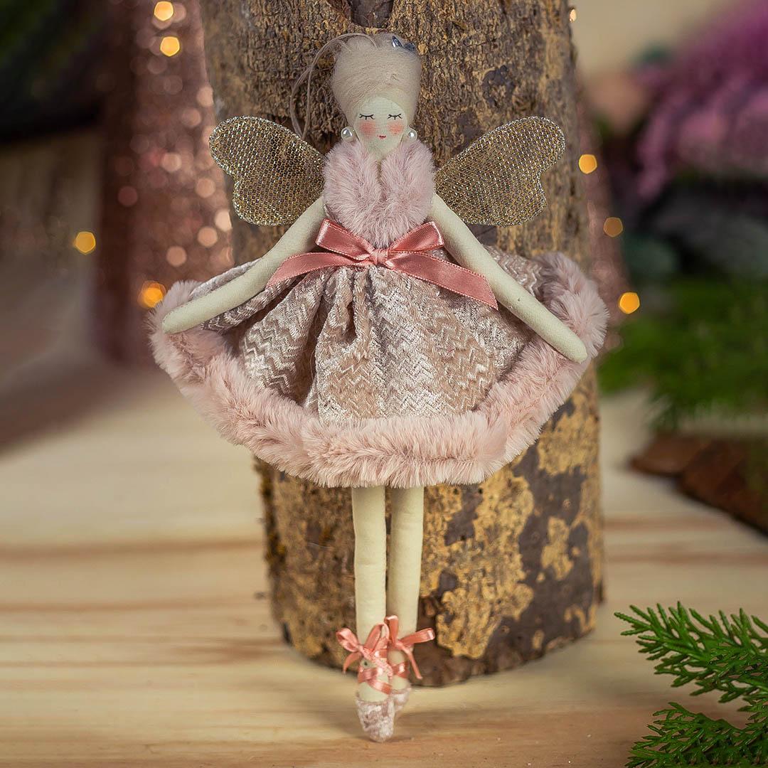 Enfeite Natal Fada Gracious Rosa 29cm | Formosinha