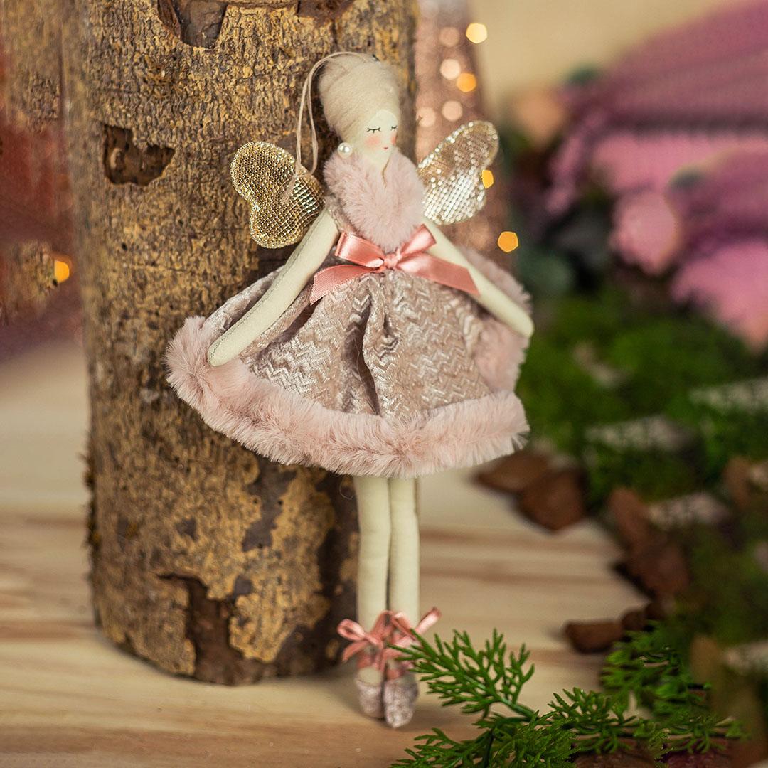 Enfeite Natal Fada Gracious Rosa 29cm   Formosinha