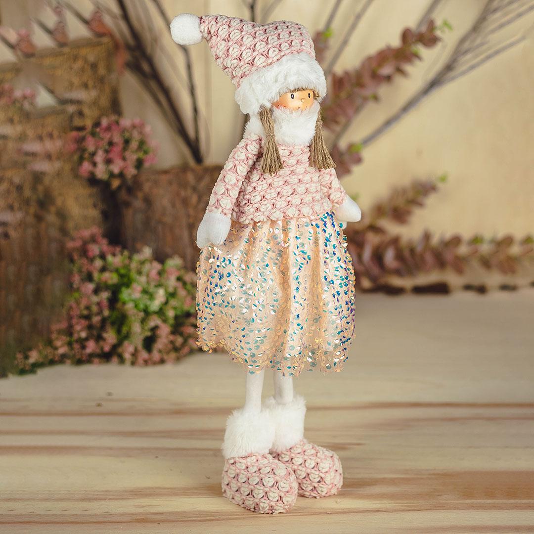 Boneca Jolie de Gorro Rosa com 50cm | Natal Encantado