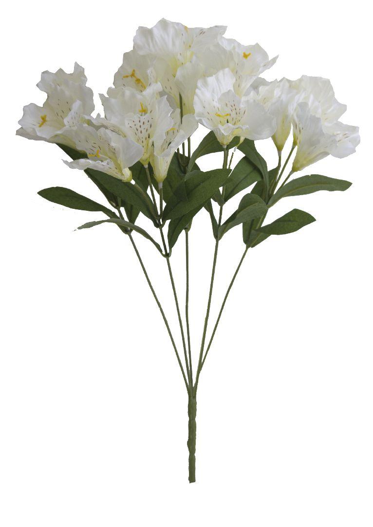 Buquê de Flores Artificiais de Astromélia Branco|Linha permanente Formosinha