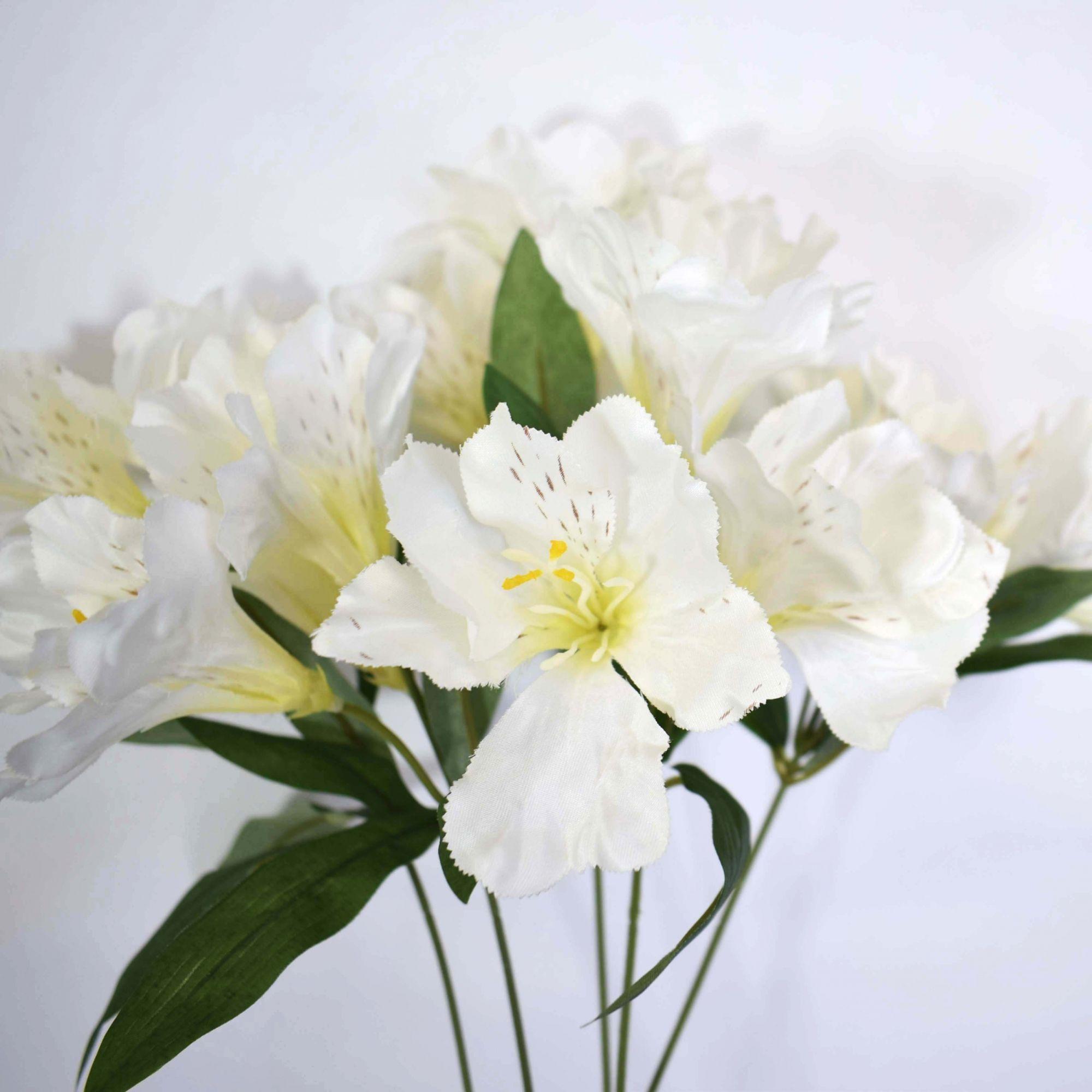 Flores artificiais Buquê Artificial de Astromélia Branco|Linha permanente Formosinha