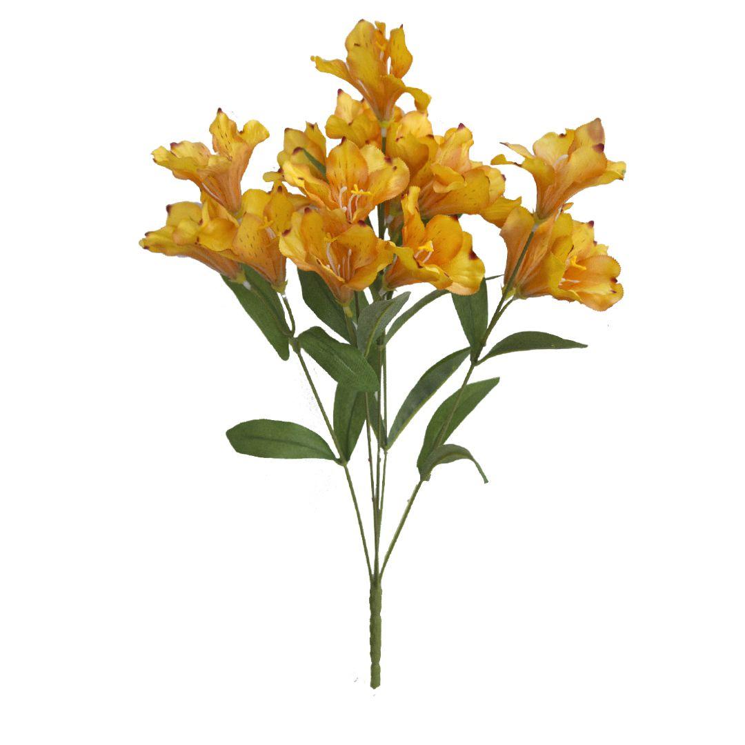 Buquê de Flor Artificial de Astromélia Laranja | Linha permanente Formosinha