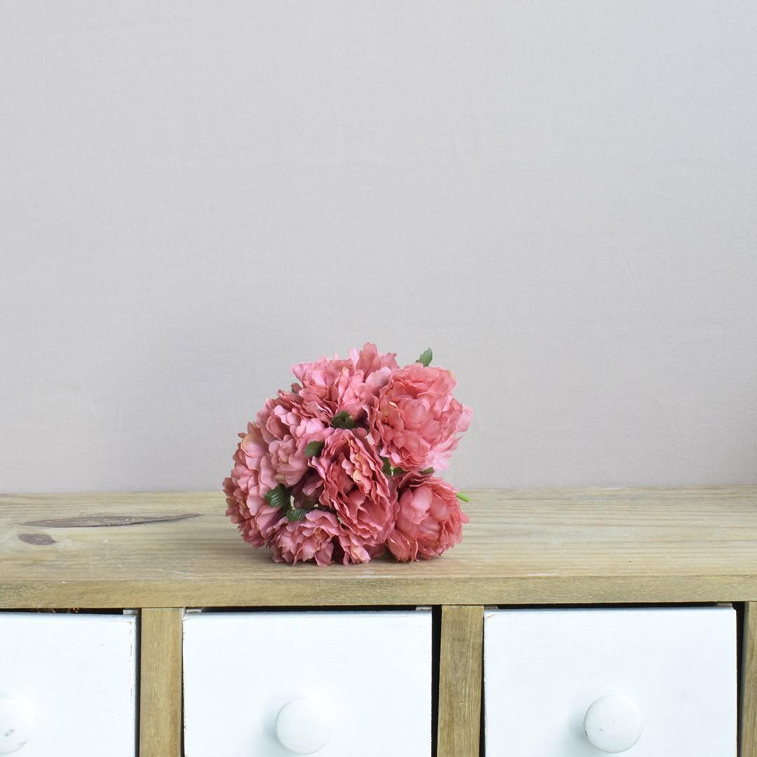 Buquê de Peônias Abertas Artificiais Rosas  | Linha permanente Formosinha
