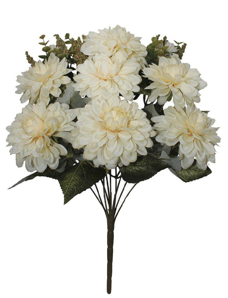 Flores artificiais Buque de Dalia Creme Outonado com 10 galhos|Linha permanente Formosinha