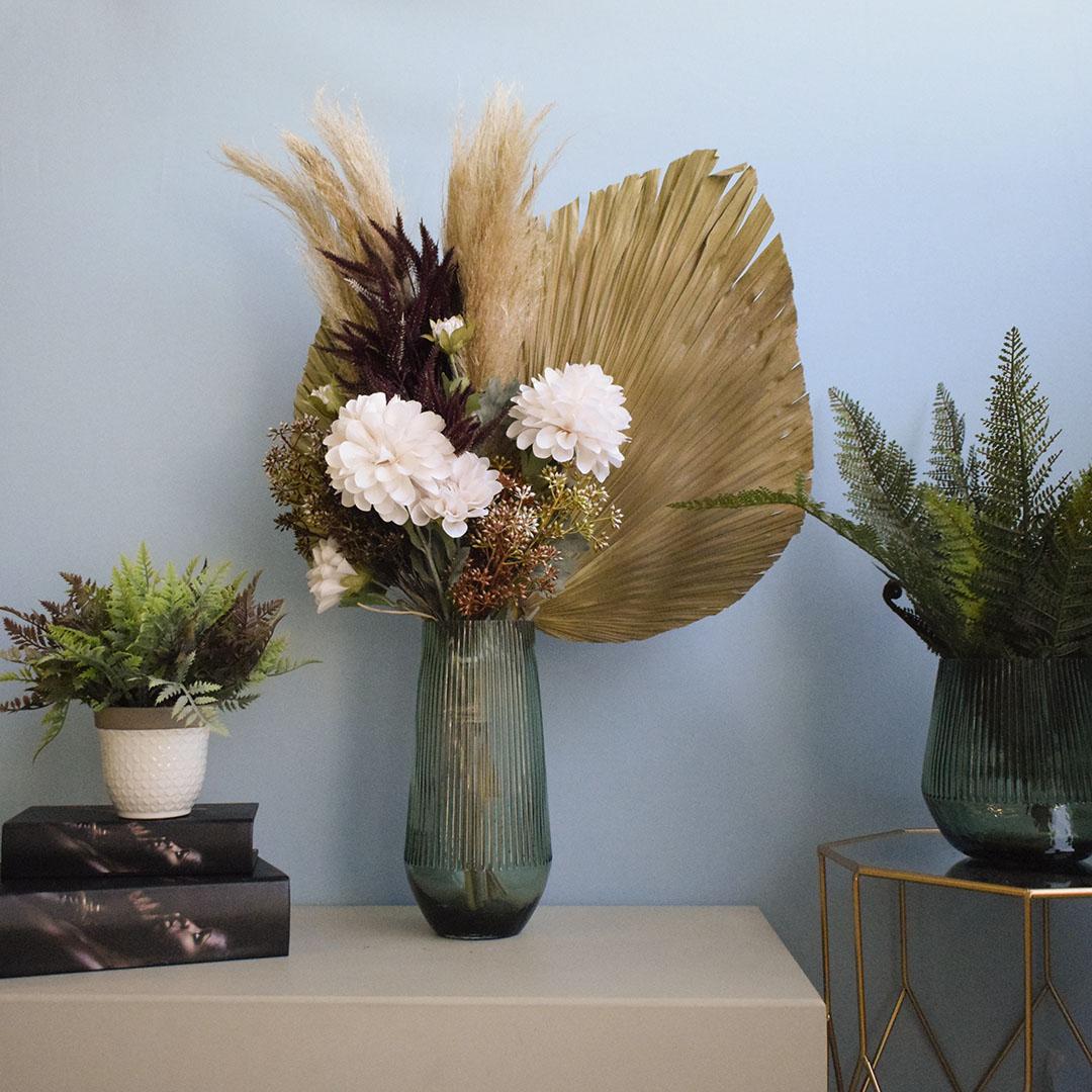 Buquê de Flor Artificial Seca Dálias e Latânia | Formosinha