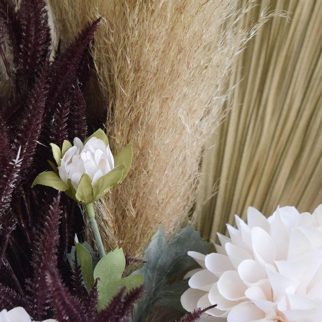 Buquê de Flor Artificial Seca Dálias e Latânia   Formosinha