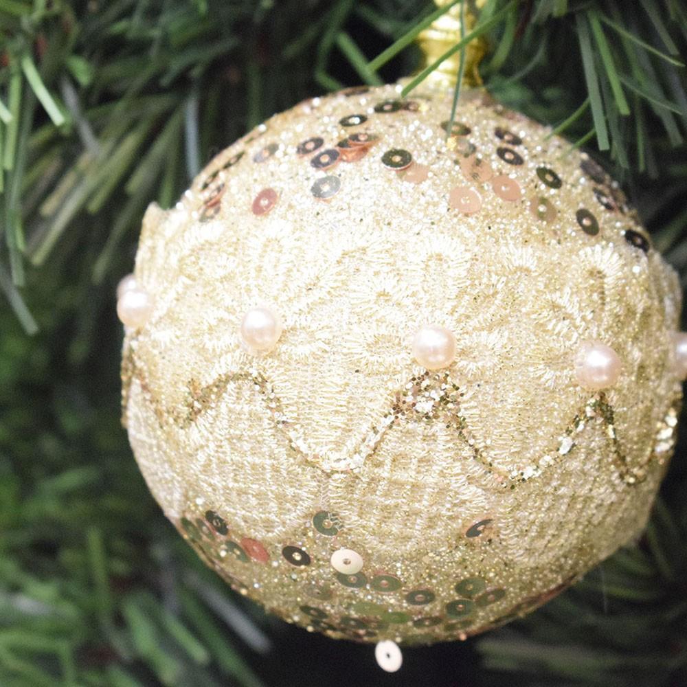 Caixa com 3 bolas de Natal Dourado 10cm | Linha Natal Encantado