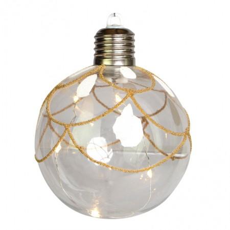 Caixa com 3 bolas de Natal Transparentes com LED 10cm | Linha Natal Encantado