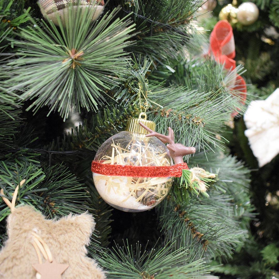 Caixa com 3 bolas de Natal Transparentes Rena 8cm | Linha Natal Encantado