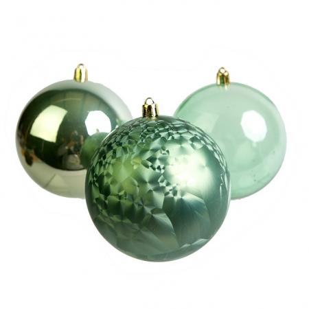 Caixa com 3 Bolas Natalinas Blend Verde 10cm | Natal Formosinha