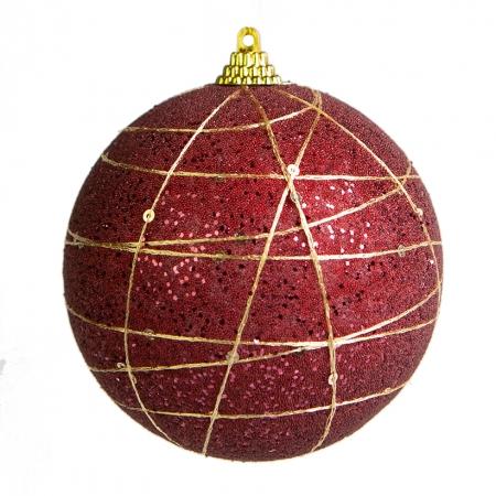 Caixa com 3 Bolas Natalinas Bordô e Dourado 10cm | Natal Formosinha