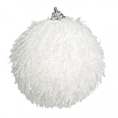 Caixa com 3 Bolas Natalinas Branca com Glitter| Linha Natal Encantado