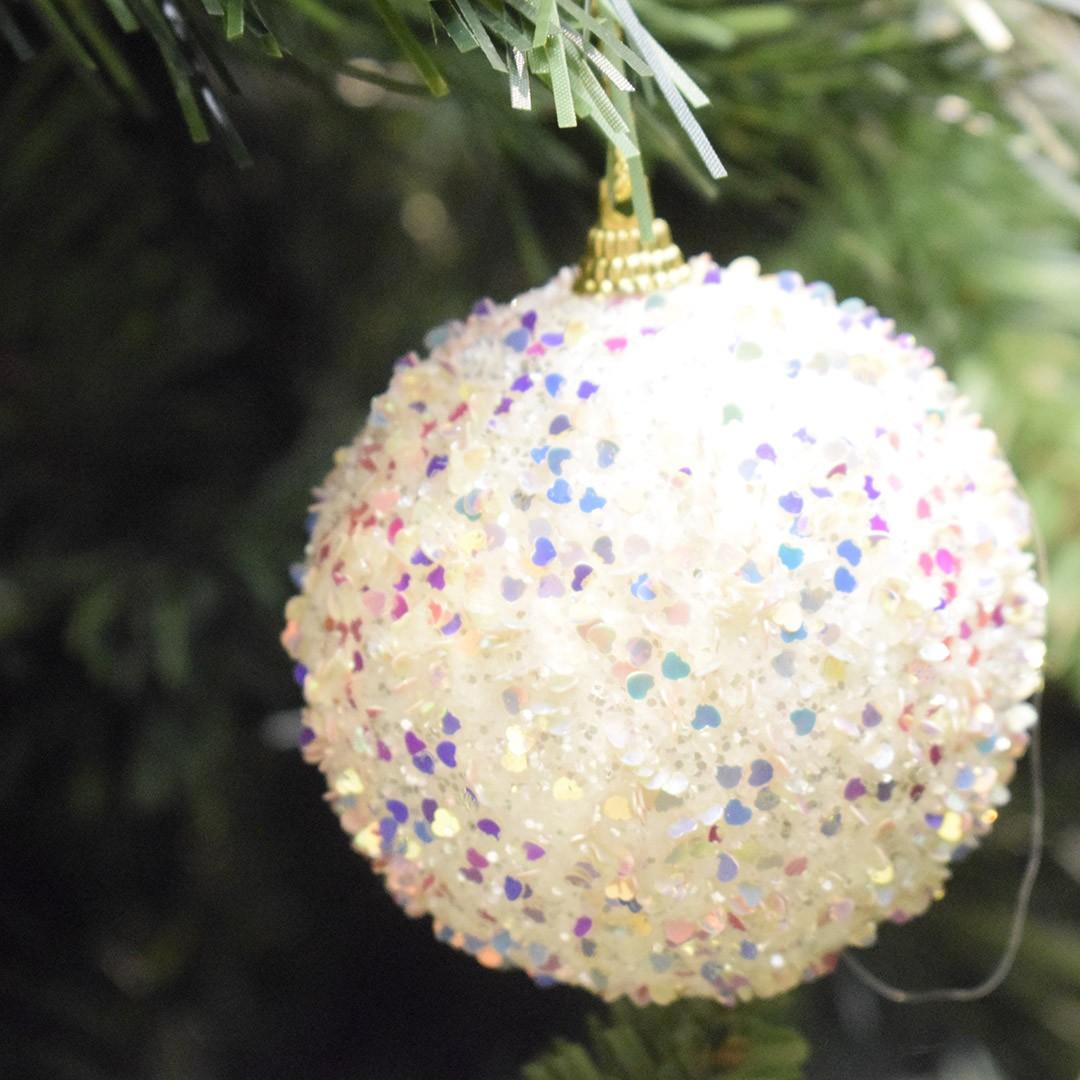 Caixa com 3 Bolas Natalinas Brilho Coração | Linha Natal Encantado