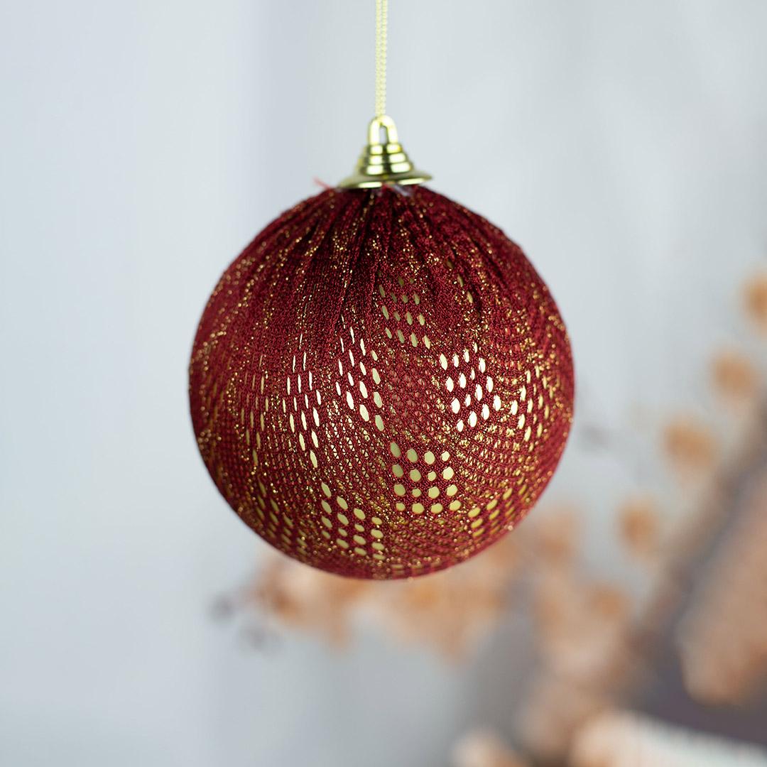 Caixa com 3 Bolas Natalinas com Renda Vermelha 10cm | Natal Formosinha