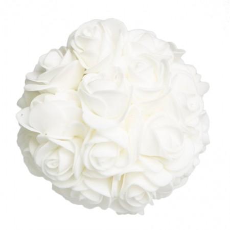 Caixa com 3 Bolas Natalinas de Flores Branca| Linha Natal Encantado