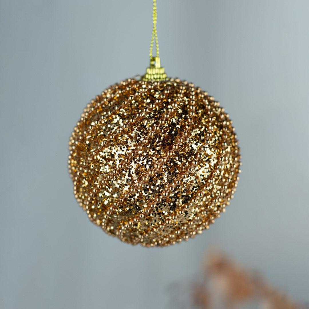 Caixa com 3 Bolas Natalinas Dourada com Brilho 8cm   Formosinha