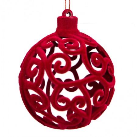 Caixa com 3 Bolas Natalinas Luxo Arabesca Vermelha| Linha Natal Encantado