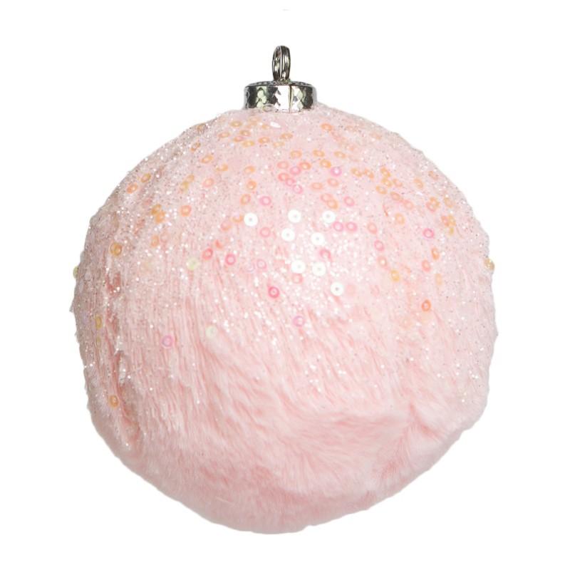 Caixa com 3 Bolas Natalinas Luxo Rosa Pelúcia| Linha Natal Encantado