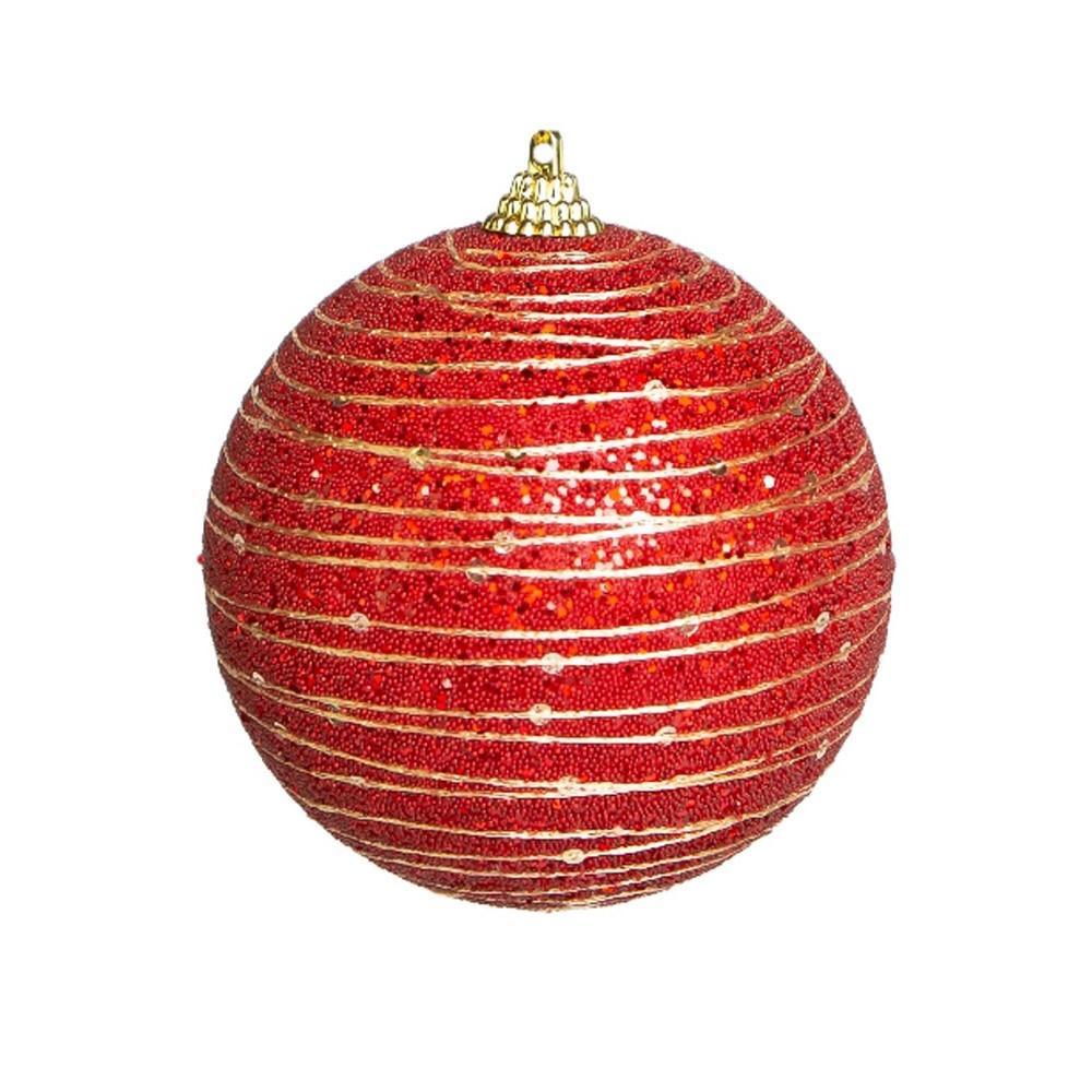 Caixa com 3 Bolas Natalinas Luxo Vermelha 8cm| Linha Natal Encantado