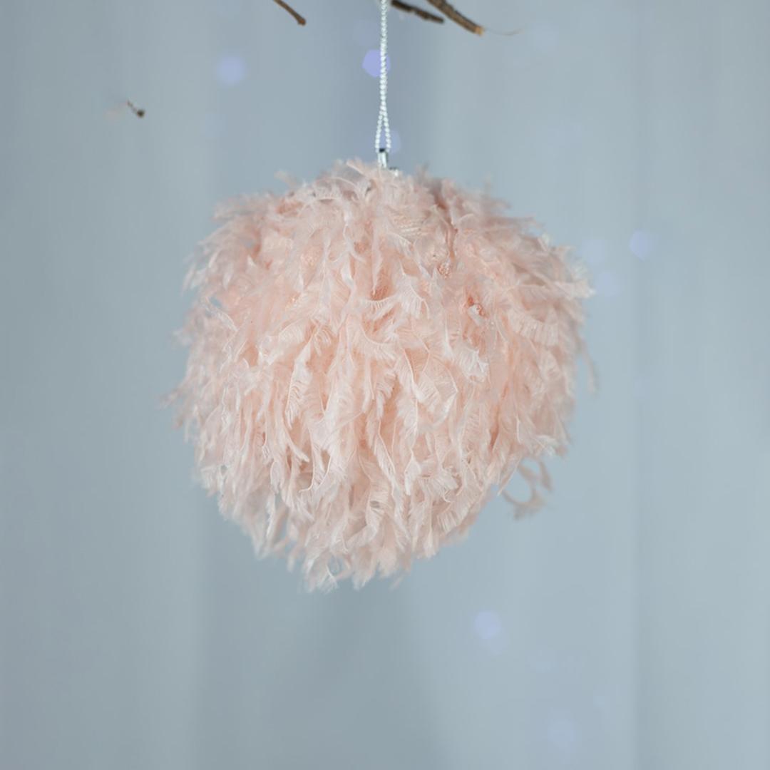 Caixa com 3 Bolas Natalinas Pelinho Rosa 10cm | Natal Formosinha