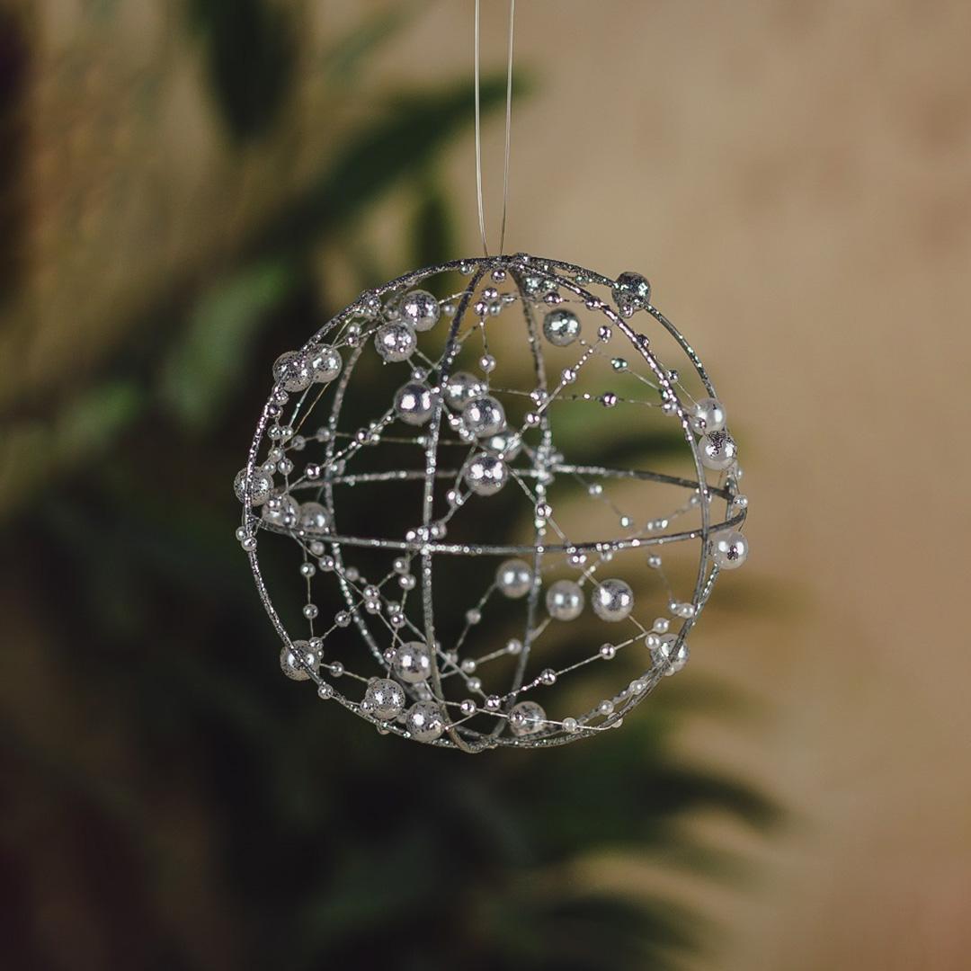 Caixa com 3 Bolas Natalinas Prata com Pérolas 10cm   Natal Formosinha