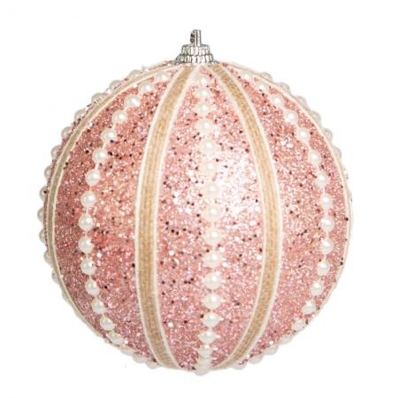 Caixa com 3 Bolas Natalinas Rosa com Perolas 10cm | Natal Formosinha