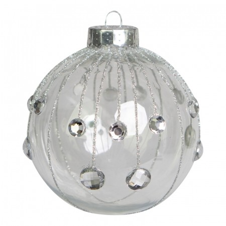 Caixa com 3 Bolas Natalinas Transparente com Strass   Linha Natal Encantado