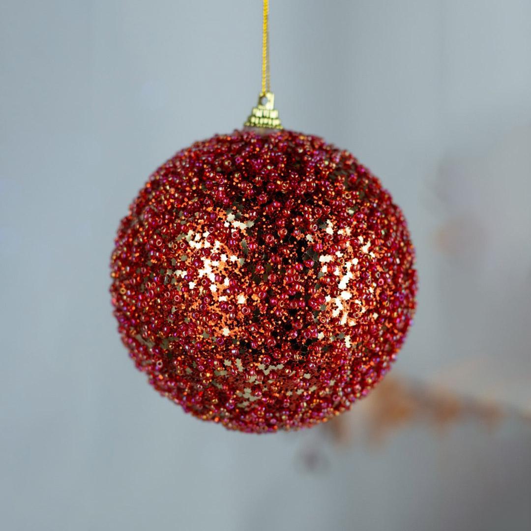 Caixa com 3 Bolas Natalinas Vermelha com Brilho 10cm | Natal Formosinha