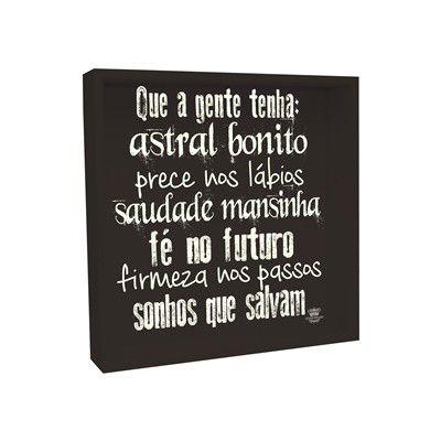 Caixa Organizadora Decoração Sala Cozinha Parede Mesa Preto Com Frase Astral Bonito | Linha Decor Formosinha
