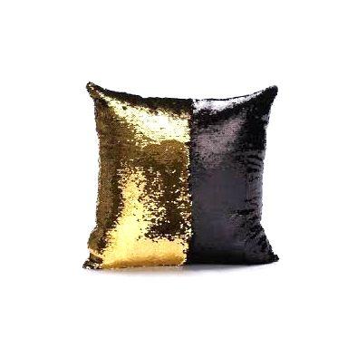 Capa de Almofada Paetê Dourado e Preto
